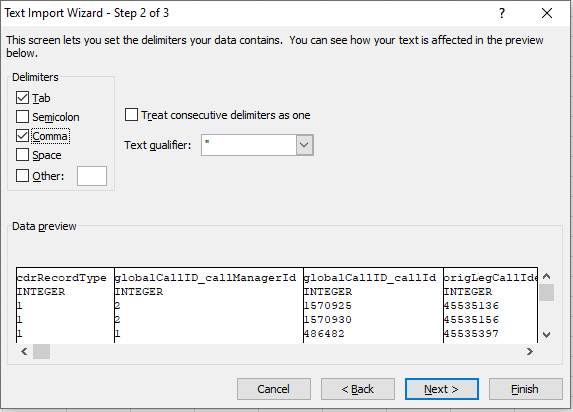 Importing CDR files into Excel